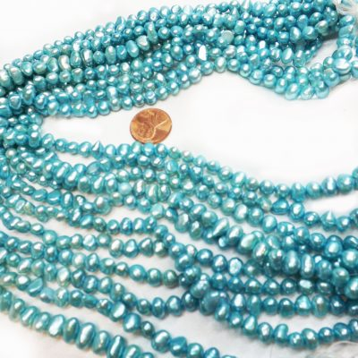 5-6mm baroque shaped blue colored pearls
