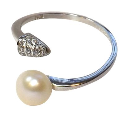 pearl silver adjustable pearl ring