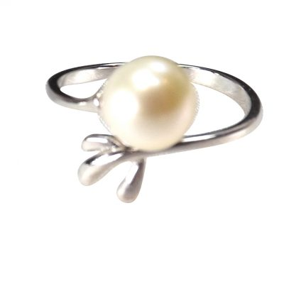 pearl silver adjustable ring