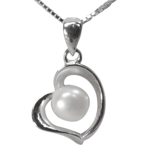 heart shaped silver pearl necklace