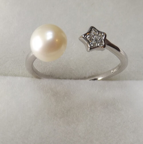adjustable pearl silver ring