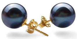 8-9mm AAA Round Pearl Earrings 14k Gold