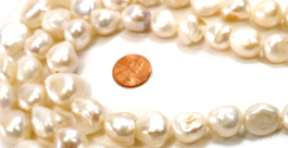 14-16mm Huge Sized White Colored Baroque Pearl Strand Drilled Larger Holes