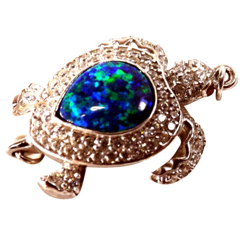 925 sterling silver clasp with real opal in a turtle shaped design
