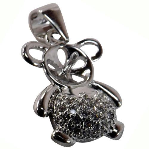 cute bear pearl pendant setting