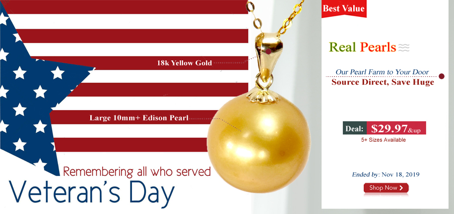 Gold Colored Edison Pearl Pendant in 18k Yellow Gold