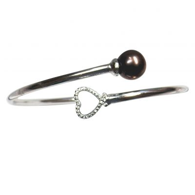 925 sterling silver pearl bangle with moon stone
