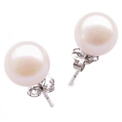 14k white gold japanese akoya pearl studs earrings