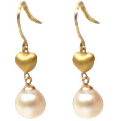 18K Yellow Gold heart shaped Pearl Earrings