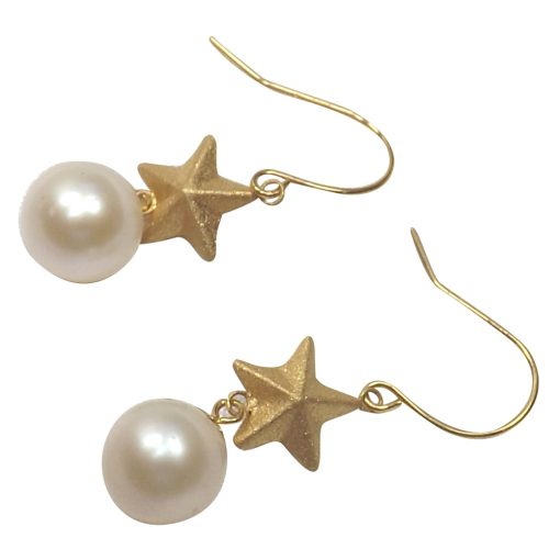 18k yellow gold star pearl earrings