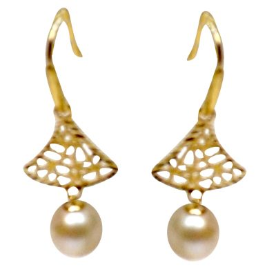 18K Yellow Gold Tree Shaped Pearl Earrings