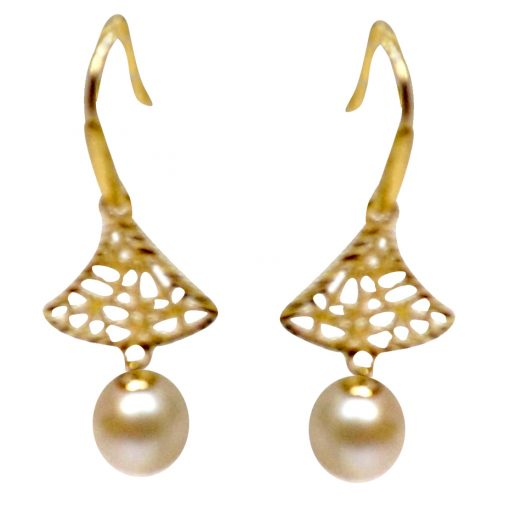 18K Yellow Gold Tree Shaped Pearl Earrings