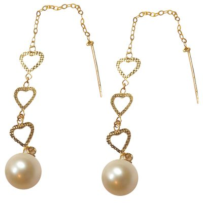 18k 3 tier dangling heart pearl earrings