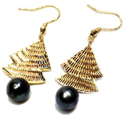 18KY good black pearl earrings