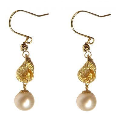 18ky gold white pearl earrings
