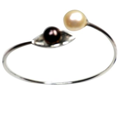 Pure sterling silver black and white pearl bangle