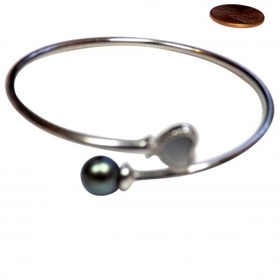 7-7.5mm black pearl bangle 925 pure sterling silver