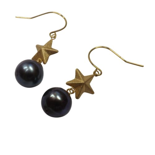 18k yellow gold star pearl earrings