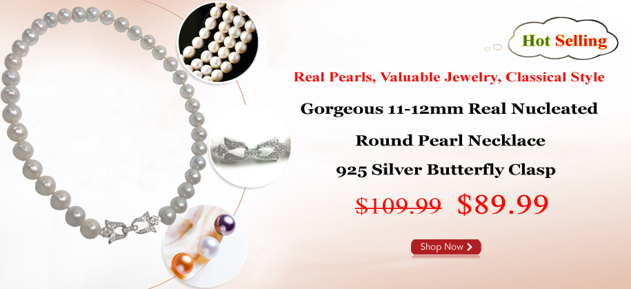 11-12mm Real Nucleated Round Pearl Necklace 925S Butterfly