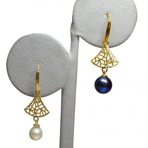 18K Yellow Gold Tree Shaped White and Black Pearl Earrings