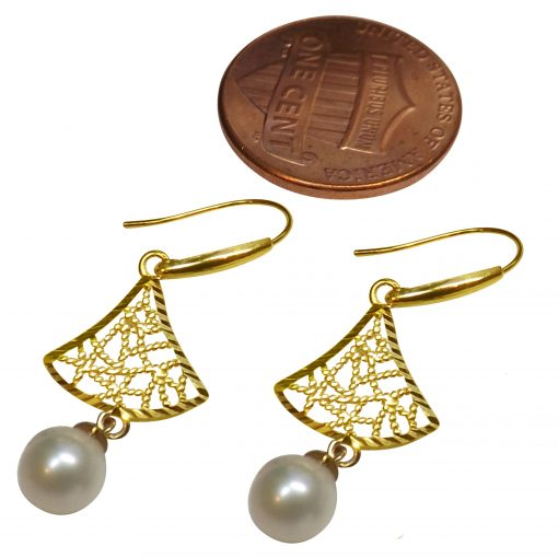 18K Yellow Gold Tree Shaped White Pearl Earrings