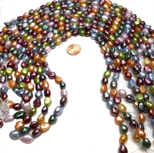 9-10mm multi-colored baroque pearl strands