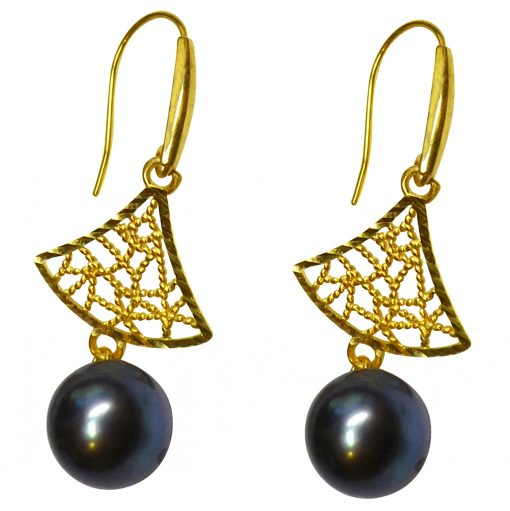 18K Yellow Gold Tree Shaped Black Pearl Earrings