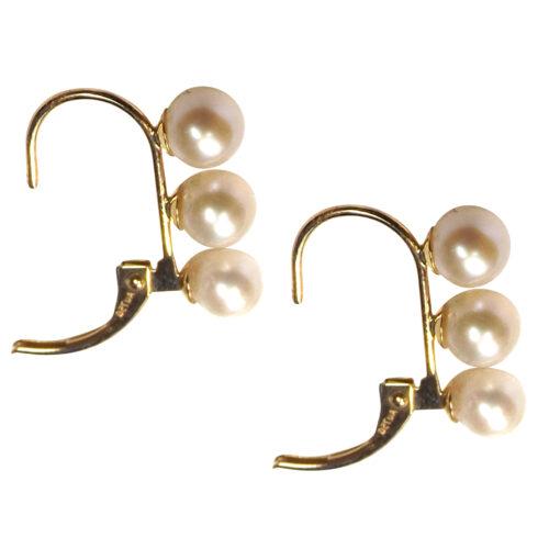 18k yellow gold 3 pearl earrings