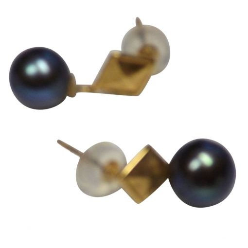 18K Yellow Gold Diamond Shaped Round Black Pearl Studs Earrings