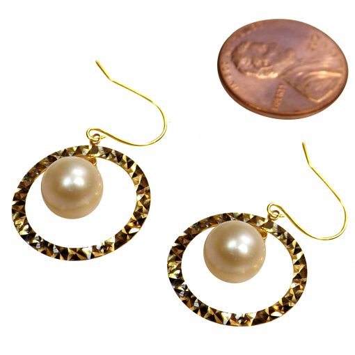 18k Yellow Gold Circle Shape with Dangling White Pearl Earrings