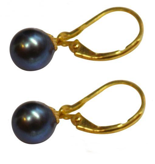 18k yellow gold lever back pearl earrings
