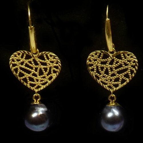 18K Yellow Gold Dangling Heart Shaped black Pearl Earrings