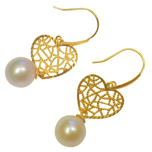 18K Yellow Gold Dangling Heart Shaped Pearl Earrings