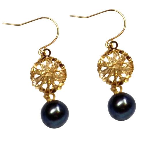 18K Yellow Gold Dangling Heart round black Pearl Earrings