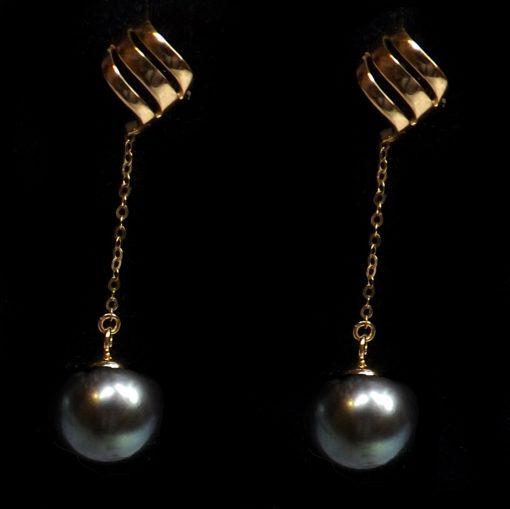 18K Yellow Gold Long Dangling Black Pearl Earrings
