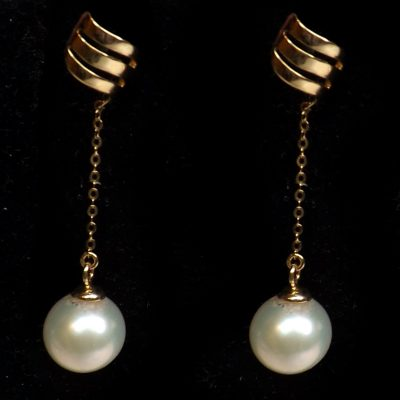 18K Yellow Gold Long Dangling White Pearl Earrings