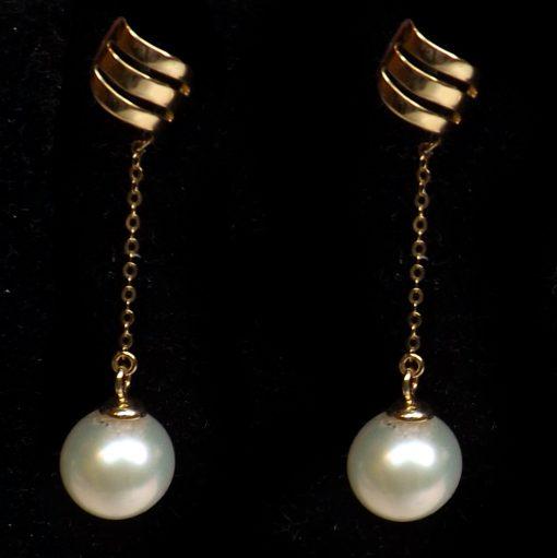 18K Yellow Gold Long Dangling White Pearl Earrings