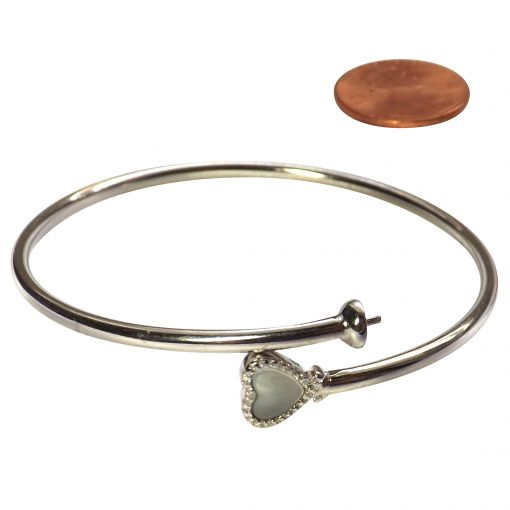 925 Sterling Silver Bangle Setting with Moonstone Heart