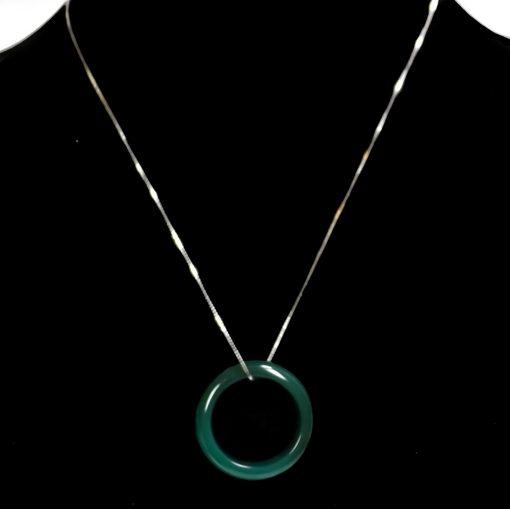 dark green jade silver necklace