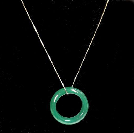 bright green jade silver necklace