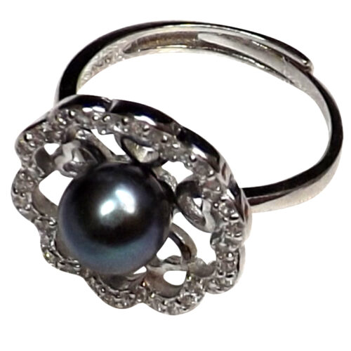 925 sterling silver black pearl ring