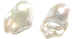 Un-Drilled Huge White Pink Mauve Baroque Pearls 18x30mm High Quality