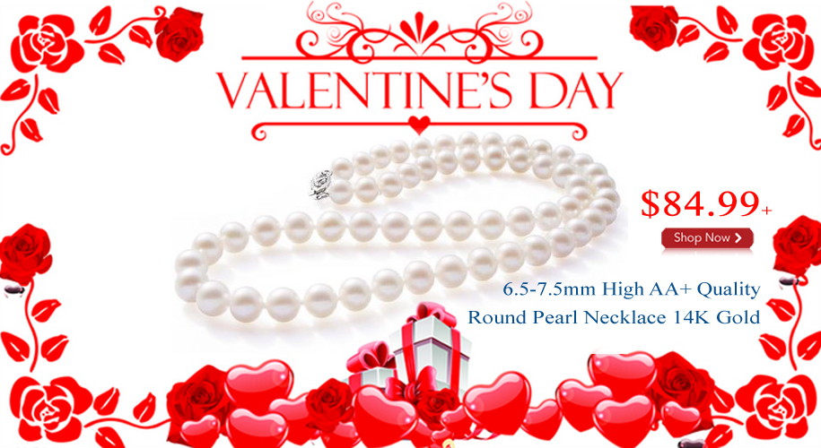 6.5-7.5mm High AA+ Quality Round Pearl Necklace 14K Solid Gold