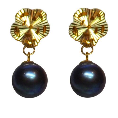 18k yellow gold flower shaped pearl earrings