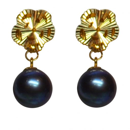 18k yellow gold flower shaped pearl earrings