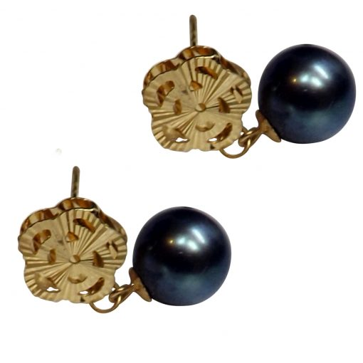 18k yellow gold black pearl earrings