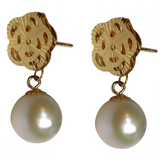 18k yellow gold white pearl earrings