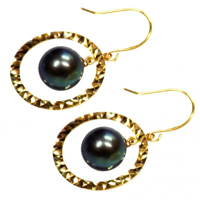 18k Yellow Gold Circle Diamond Cut with Dangle Black Pearl Earrings