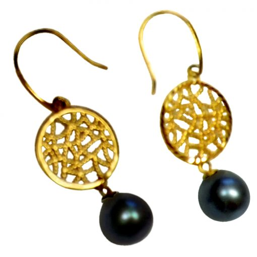 18K Yellow Gold Dangling Round Black Pearl Earrings