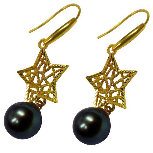 18k yellow gold dangling star black pearl earrings